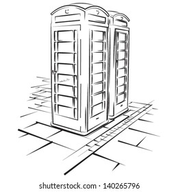 Telephone booths of London - vector lineart illustration