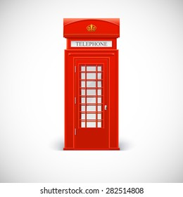 Telephone box, Londone style. Vector illustration isolated on a white background