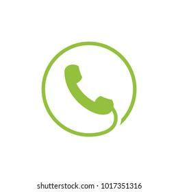 telephone with cable in circle logo icon
