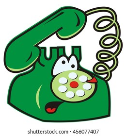 telephone, comic vector icon, funny illustration