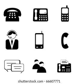 Telephone and communication icon set