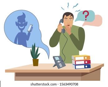 Telephone con man. Flat style Cartoon vector illustration