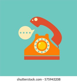 telephone flat colorful vintage item and icon for logo concept in blue background