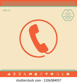 Telephone handset surrounded by a telephone cord - icon