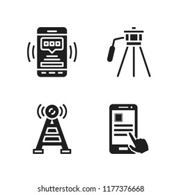 telephone icon. 4 telephone vector icons set. smartphone, smartphone app and antenna icons for web and design about telephone theme