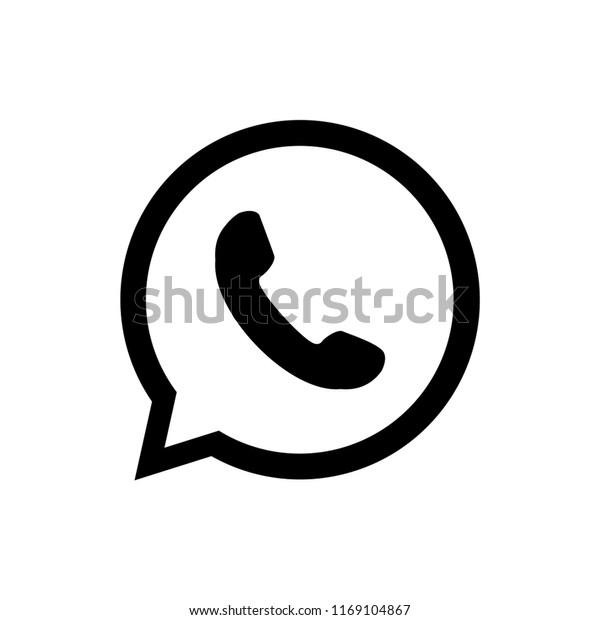 Telephone icon, Whatsapp Logo Phone in Bubble Icon Vector