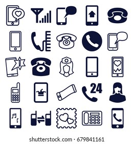 Telephone icons set. set of 25 telephone filled and outline icons such as poker on phone, customer support, phone, mobile signal, call, nurse, photo with heart