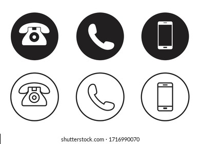 Telephone icons set in flat style. mobile phone and smartphone vector illustration isolated on white background.