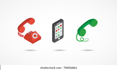 Telephone isometric icons. 3d vector colorful illustration.