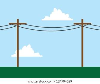 Telephone poles in front of sky scene