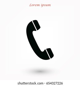 Telephone receiver vector icon, flat design best vector icon