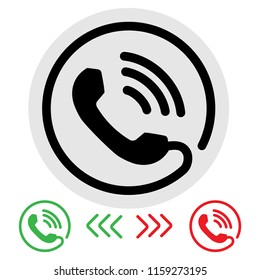 Telephone ringing icon vector.answer the phone and no answer.black , green, red flat style isolated.