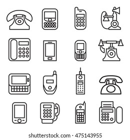 Telephone , smart phone , fax , phone , Cell phone , telecommunication icon set in thin line style