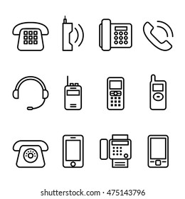 Telephone , Smart phone , fax icon set in thin line style
