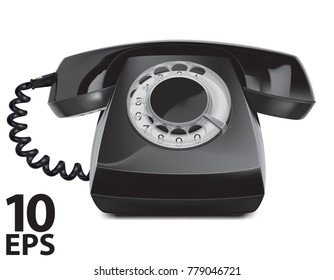 Telephone vintage, isolated. Vector 3d Illustration