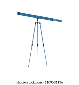 Telescope blue equipment observation instrument vector. Optical astronomy object. Search stars observe look technology binoculars tool. Cosmos space icon illustration. Art tripod spyglass isolated.