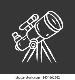 Telescope chalk icon. Optical instrument for star observation. Moon, planets exploration. Spyglass on tripod. Astronomy, astrophysics, astrology. Isolated vector chalkboard illustration