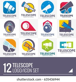 TELESCOPE FLAT DESIGN VECTOR LOGO