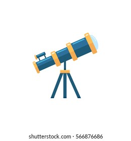 Telescope flat icon, Education and astronomy element, spyglass and study stars vector graphics, a colorful solid pattern on a white background, eps 10.
