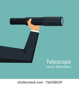 Telescope in hand. Man hold in hand spyglass. Vector illustration flat design. Isolated on background. Business challenge search way to goal. Looking in future. Visionary concept. Symbol leadership.