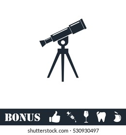 Telescope icon flat. Vector illustration symbol and bonus pictogram
