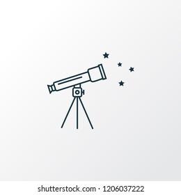 Telescope icon line symbol. Premium quality isolated spyglass element in trendy style.