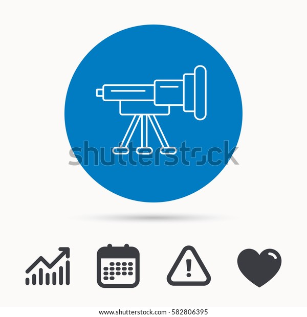 Telescope icon. Spyglass sign. Astronomy magnify lens symbol. Calendar, attention sign and growth chart. Button with web icon. Vector