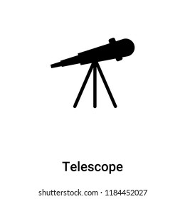 Telescope icon vector isolated on white background, logo concept of Telescope sign on transparent background, filled black symbol