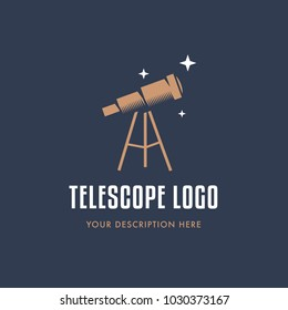 Telescope illustration. Flat design. Logo design. Business logotype. Vector. Simple telescope isolated on background.
