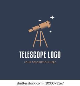 Telescope illustration. Flat design. Logo design. Business logotype. Vector. Simple telescope isolated on background.