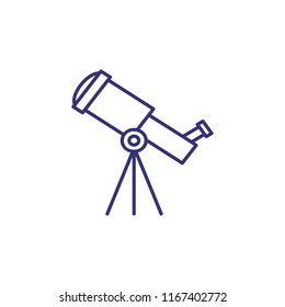 Telescope line icon. Spyglass, planetarium, scope, tripod. Science concept. Can be used for topics like education, astronomy, stars watching