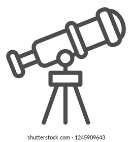 Telescope line icon. Spyglass vector illustration isolated on white. Ocular outline style design, designed for web and app. Eps 10