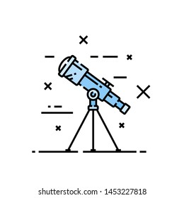 Telescope line icon. Stars and space cosmos discovery symbol. Vector illustration.