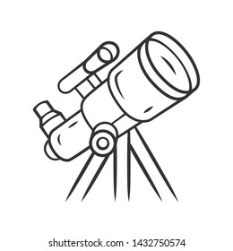 Telescope linear icon. Moon, planets exploration. Spyglass on tripod. Astronomy, astrophysics, astrology. Thin line illustration. Contour symbol. Vector isolated outline drawing.