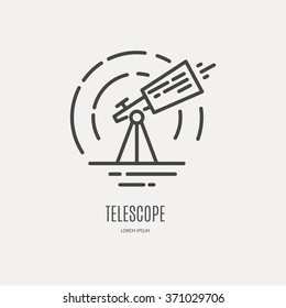 Telescope logo made in trendy line stile vector. Space series. Space exploration and adventure symbol. Explore the world concept.