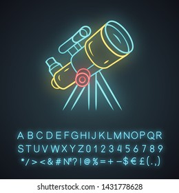 Telescope neon light icon. Moon, planets exploration. Spyglass on tripod. Astronomy, astrophysics, astrology. Glowing sign with alphabet, numbers and symbols. Vector isolated illustration