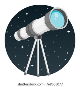 telescope with night sky round flat design icon isolated on white background
