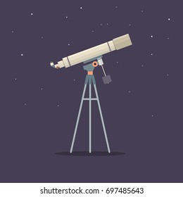 Telescope on support to observe stars. Astronomy. Vector illustration.