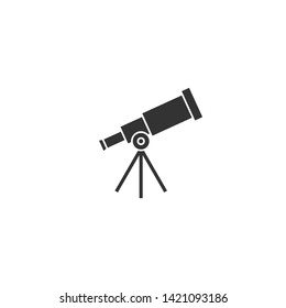 Telescope on tripod.  Science, searching, looking symbol. Vector flat illustration isolated on white.