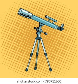 Telescope pop art retro vector illustration. Color background. Comic book style imitation.