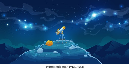Telescope for science discovery, study astronomy, watching stars and planets in outer space. Vector cartoon landscape with telescope with tripod and backpack on hill, mountains and night starry sky
