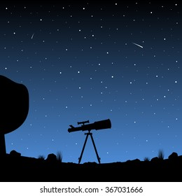 Telescope silhouette against the night sky.
