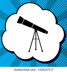Telescope simple sign. Vector. Black icon in bubble on blue pop-art background with rays.