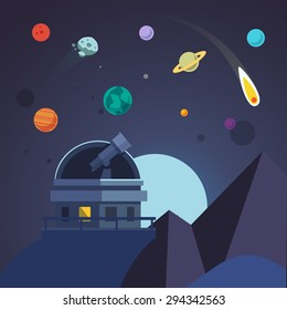 Telescope sits in an open observatory dome. Stars, planets, comet, asteroid. Flat vector illustration.