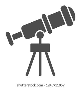 Telescope solid icon. Spyglass vector illustration isolated on white. Ocular glyph style design, designed for web and app. Eps 10