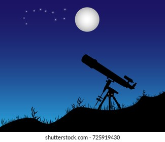 telescope standing on the ground aimed at the stars and the moon