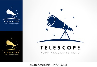 Telescope and star logo vector