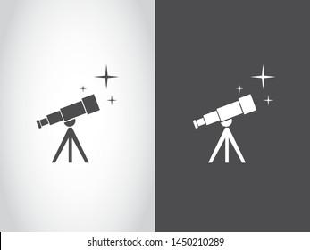 Telescope Star Universe Explore Discovery Astronomy Icon Symbol Black White