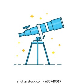 Telescope and stars. Vector modern line outline flat style cartoon illustration icon. Isolated on white background.