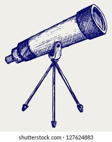 Telescope in tripod. Doodle style